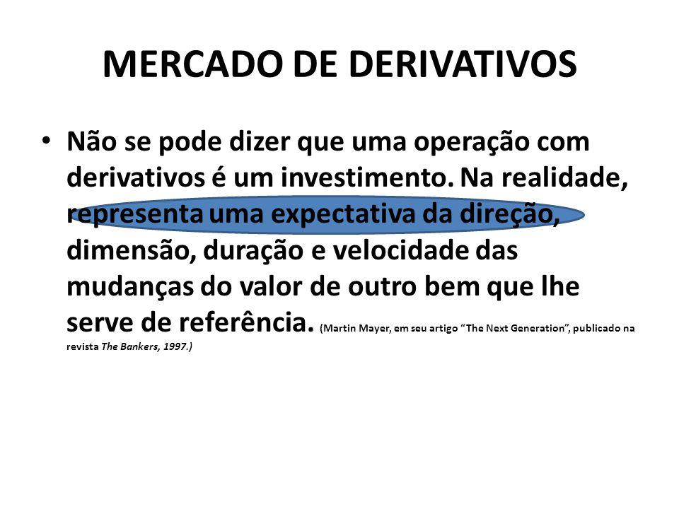 MERCADO DE DERIVATIVOS Não se pode dizer que uma operação com derivativos é um investimento.