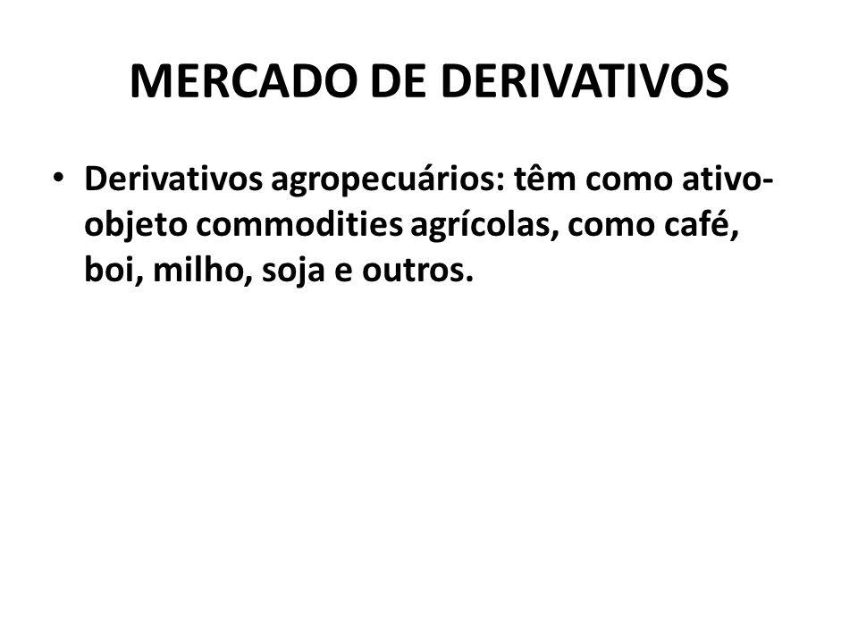 MERCADO DE DERIVATIVOS Derivativos agropecuários: têm como ativo- objeto commodities agrícolas, como café, boi, milho, soja e outros.