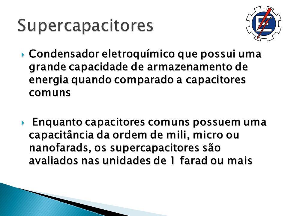 Condensador eletroquímico que possui uma grande capacidade de armazenamento de energia quando comparado a capacitores comuns Condensador eletroquímico que possui uma grande capacidade de armazenamento de energia quando comparado a capacitores comuns Enquanto capacitores comuns possuem uma capacitância da ordem de mili, micro ou nanofarads, os supercapacitores são avaliados nas unidades de 1 farad ou mais Enquanto capacitores comuns possuem uma capacitância da ordem de mili, micro ou nanofarads, os supercapacitores são avaliados nas unidades de 1 farad ou mais