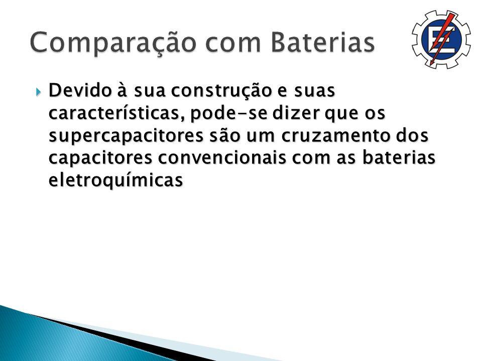 Devido à sua construção e suas características, pode-se dizer que os supercapacitores são um cruzamento dos capacitores convencionais com as baterias eletroquímicas Devido à sua construção e suas características, pode-se dizer que os supercapacitores são um cruzamento dos capacitores convencionais com as baterias eletroquímicas