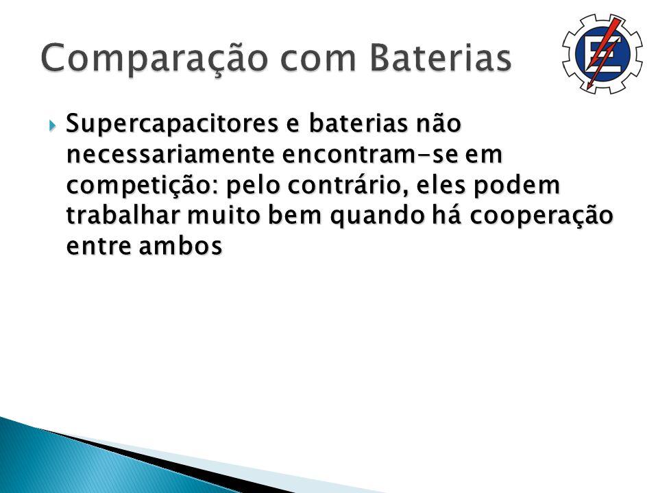 Supercapacitores e baterias não necessariamente encontram-se em competição: pelo contrário, eles podem trabalhar muito bem quando há cooperação entre ambos Supercapacitores e baterias não necessariamente encontram-se em competição: pelo contrário, eles podem trabalhar muito bem quando há cooperação entre ambos