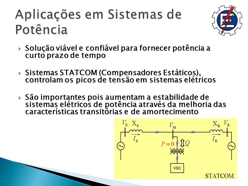 Solução viável e confiável para fornecer potência a curto prazo de tempo Solução viável e confiável para fornecer potência a curto prazo de tempo Sistemas STATCOM (Compensadores Estáticos), controlam os picos de tensão em sistemas elétricos Sistemas STATCOM (Compensadores Estáticos), controlam os picos de tensão em sistemas elétricos São importantes pois aumentam a estabilidade de sistemas elétricos de potência através da melhoria das características transitórias e de amortecimento São importantes pois aumentam a estabilidade de sistemas elétricos de potência através da melhoria das características transitórias e de amortecimento