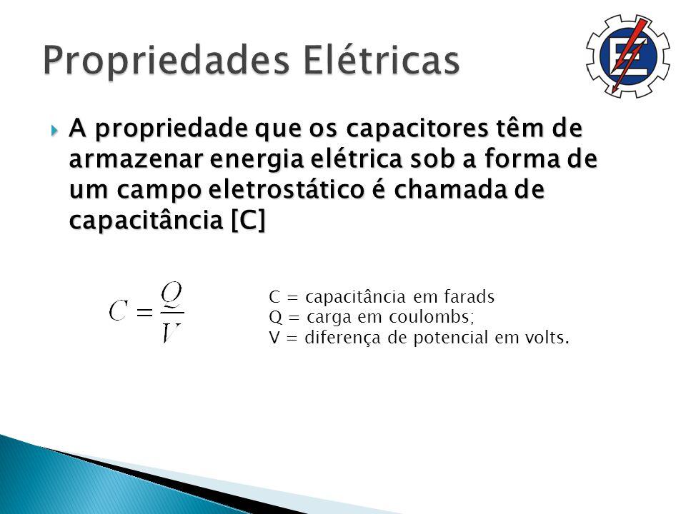 A propriedade que os capacitores têm de armazenar energia elétrica sob a forma de um campo eletrostático é chamada de capacitância [C] A propriedade que os capacitores têm de armazenar energia elétrica sob a forma de um campo eletrostático é chamada de capacitância [C] C = capacitância em farads Q = carga em coulombs; V = diferença de potencial em volts.