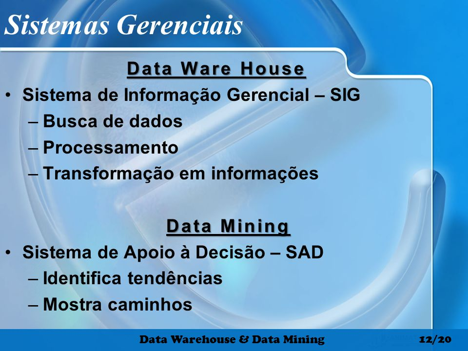 Sistemas Gerenciais Data Ware House Sistema de Informação Gerencial – SIG –Busca de dados –Processamento –Transformação em informações Data Mining Sis