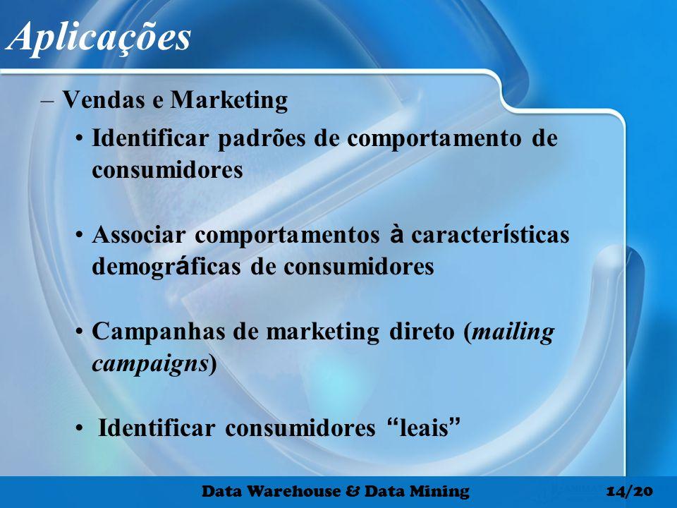 Aplicações –Vendas e Marketing Identificar padrões de comportamento de consumidores Associar comportamentos à caracter í sticas demogr á ficas de cons