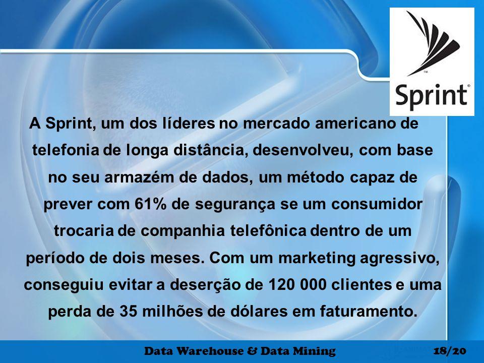 A Sprint, um dos líderes no mercado americano de telefonia de longa distância, desenvolveu, com base no seu armazém de dados, um método capaz de preve