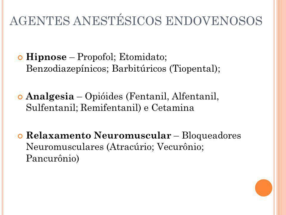 AGENTES ANESTÉSICOS ENDOVENOSOS Hipnose – Propofol; Etomidato; Benzodiazepínicos; Barbitúricos (Tiopental); Analgesia – Opióides (Fentanil, Alfentanil