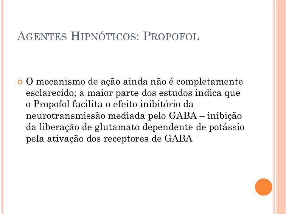 A GENTES H IPNÓTICOS : P ROPOFOL O mecanismo de ação ainda não é completamente esclarecido; a maior parte dos estudos indica que o Propofol facilita o