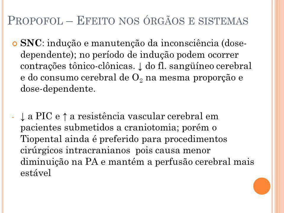 P ROPOFOL – E FEITO NOS ÓRGÃOS E SISTEMAS SNC : indução e manutenção da inconsciência (dose- dependente); no período de indução podem ocorrer contraçõ
