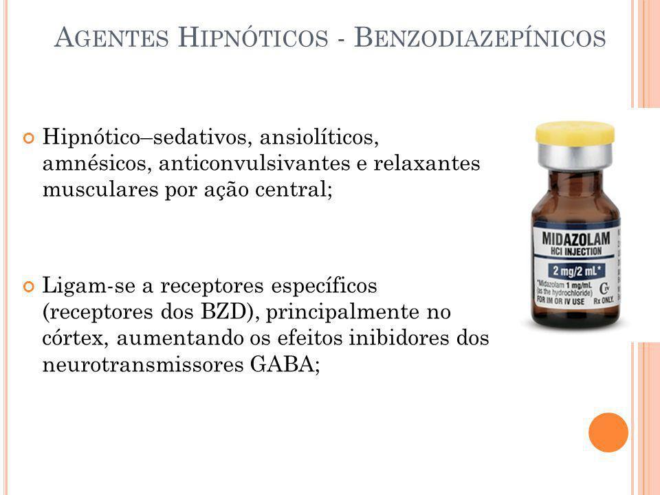 A GENTES H IPNÓTICOS - B ENZODIAZEPÍNICOS Hipnótico–sedativos, ansiolíticos, amnésicos, anticonvulsivantes e relaxantes musculares por ação central; L
