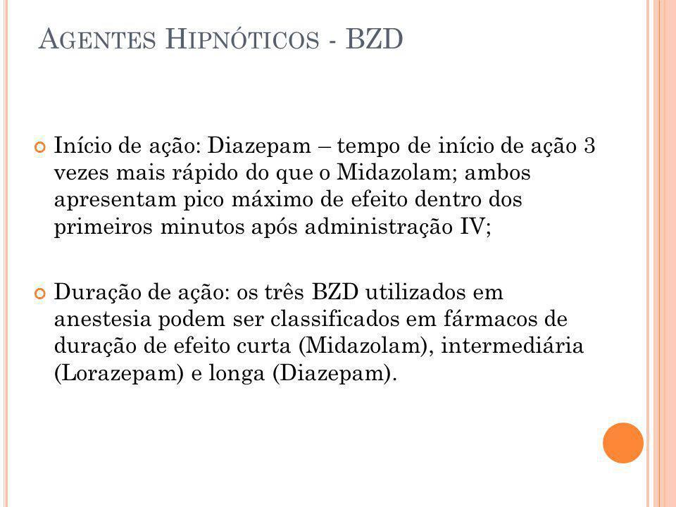 A GENTES H IPNÓTICOS - BZD Início de ação: Diazepam – tempo de início de ação 3 vezes mais rápido do que o Midazolam; ambos apresentam pico máximo de