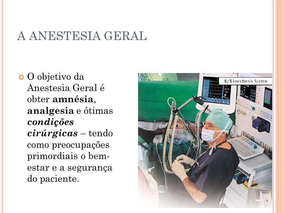 A ANESTESIA GERAL O objetivo da Anestesia Geral é obter amnésia, analgesia e ótimas condições cirúrgicas – tendo como preocupações primordiais o bem-
