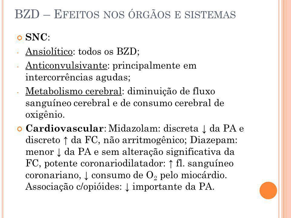 BZD – E FEITOS NOS ÓRGÃOS E SISTEMAS SNC : - Ansiolítico: todos os BZD; - Anticonvulsivante: principalmente em intercorrências agudas; - Metabolismo c
