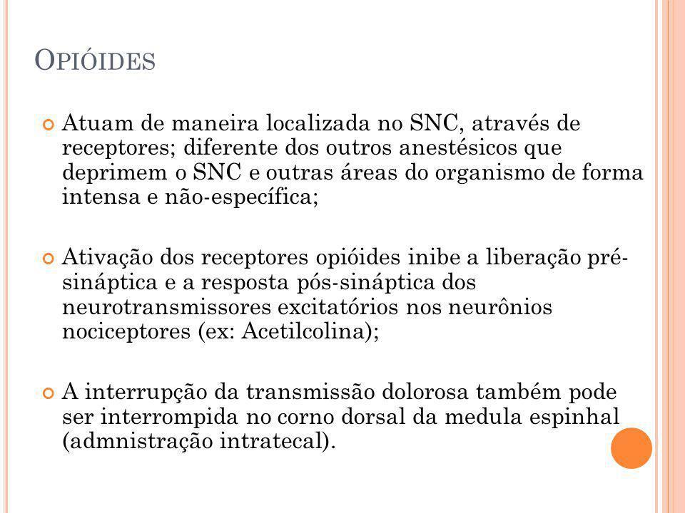 O PIÓIDES Atuam de maneira localizada no SNC, através de receptores; diferente dos outros anestésicos que deprimem o SNC e outras áreas do organismo d