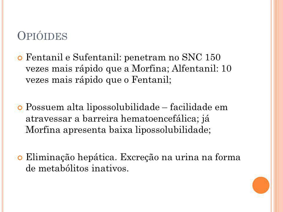 O PIÓIDES Fentanil e Sufentanil: penetram no SNC 150 vezes mais rápido que a Morfina; Alfentanil: 10 vezes mais rápido que o Fentanil; Possuem alta li