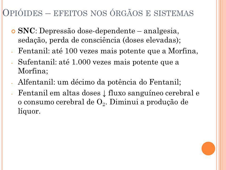 O PIÓIDES – EFEITOS NOS ÓRGÃOS E SISTEMAS SNC : Depressão dose-dependente – analgesia, sedação, perda de consciência (doses elevadas); - Fentanil: até