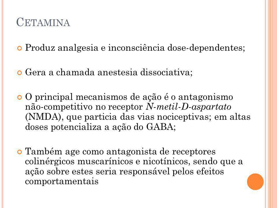 C ETAMINA Produz analgesia e inconsciência dose-dependentes; Gera a chamada anestesia dissociativa; O principal mecanismos de ação é o antagonismo não