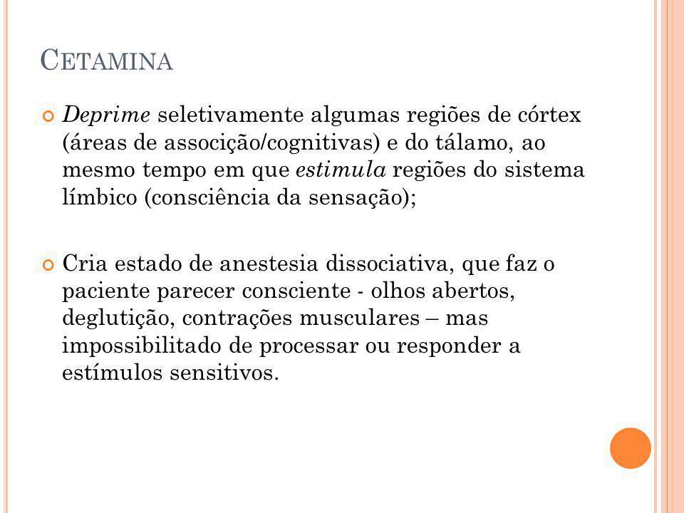 C ETAMINA Deprime seletivamente algumas regiões de córtex (áreas de associção/cognitivas) e do tálamo, ao mesmo tempo em que estimula regiões do siste
