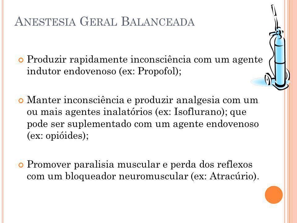 P ROPOFOL Recuperação rápida quando utilizado para indução - mais que os barbitúricos - qualquer que seja o agente utilizado na manutenção; Paraefeitos : - Dor à injeção (menos intensa que o Etomidato); - Contrações tônico-clônicas; - Apnéia - Hipotensão - Flebite (raro)
