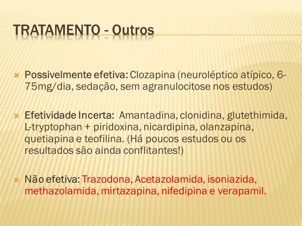 Possivelmente efetiva: Clozapina (neuroléptico atípico, 6- 75mg/dia, sedação, sem agranulocitose nos estudos) Efetividade Incerta: Amantadina, clonidi