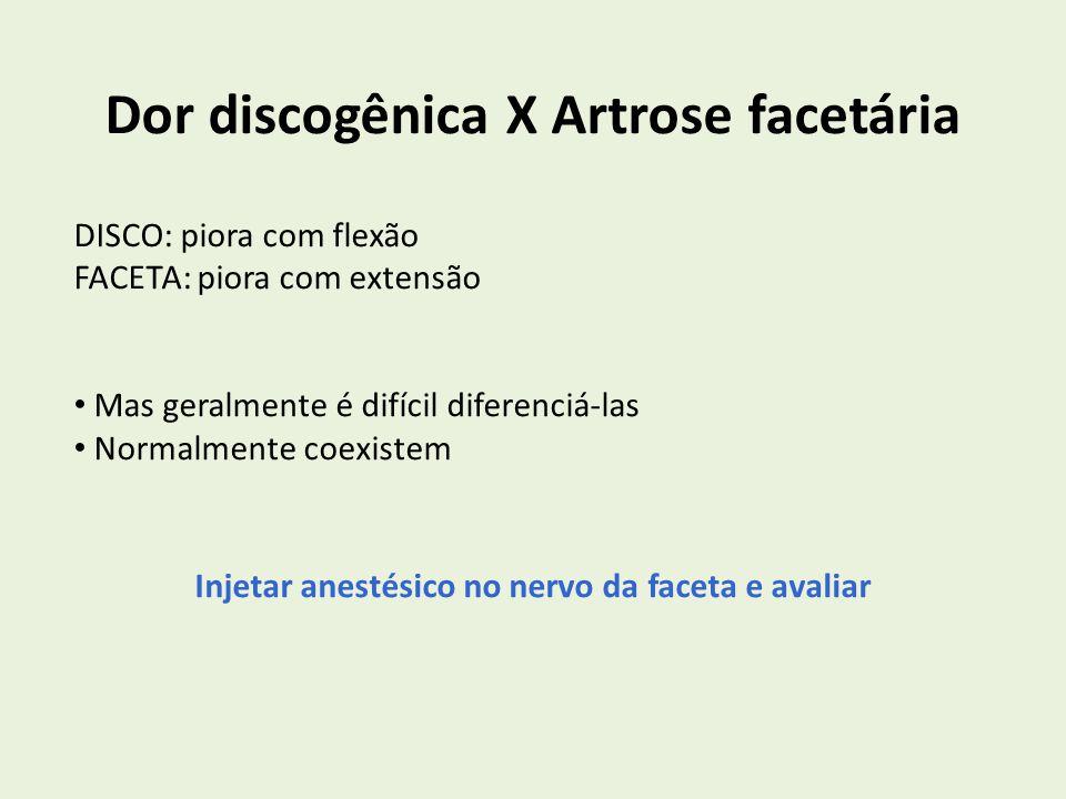 Dor discogênica X Artrose facetária DISCO: piora com flexão FACETA: piora com extensão Mas geralmente é difícil diferenciá-las Normalmente coexistem I