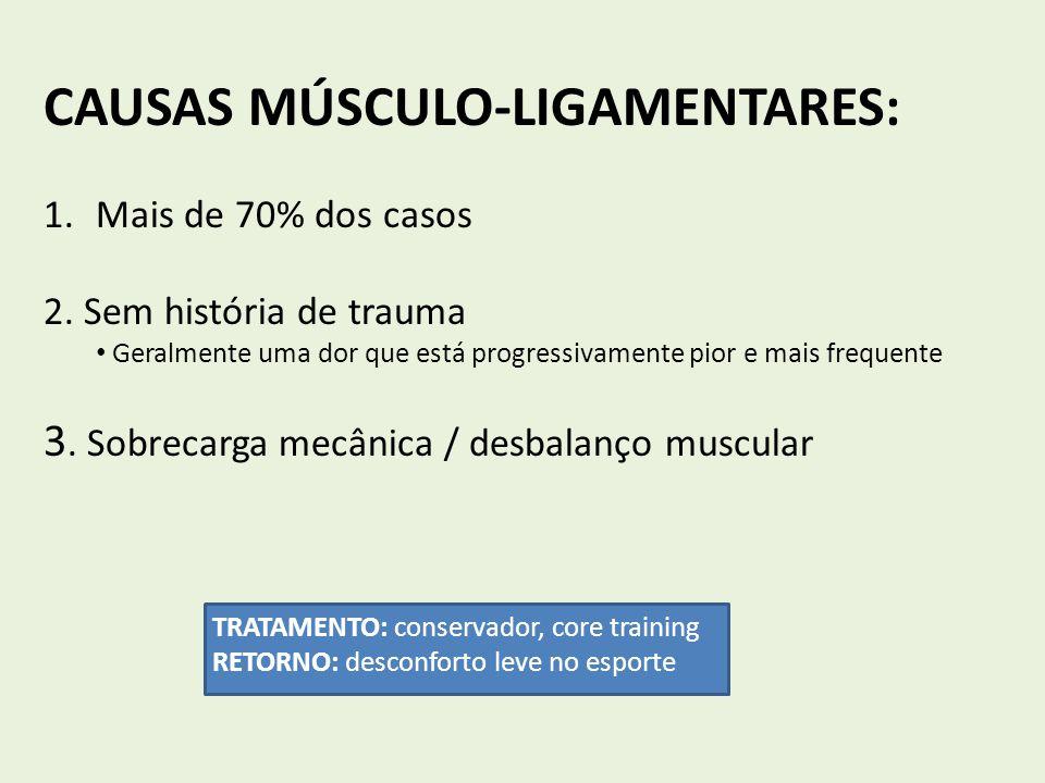 CAUSAS MÚSCULO-LIGAMENTARES: 1.Mais de 70% dos casos 2. Sem história de trauma Geralmente uma dor que está progressivamente pior e mais frequente 3. S