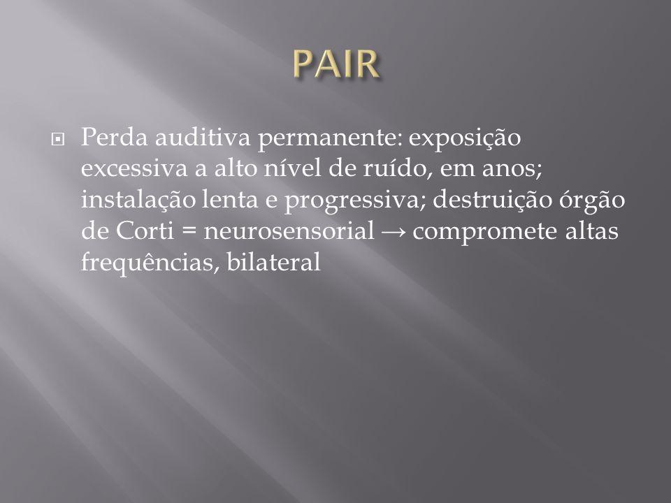 Perda auditiva permanente: exposição excessiva a alto nível de ruído, em anos; instalação lenta e progressiva; destruição órgão de Corti = neurosensor