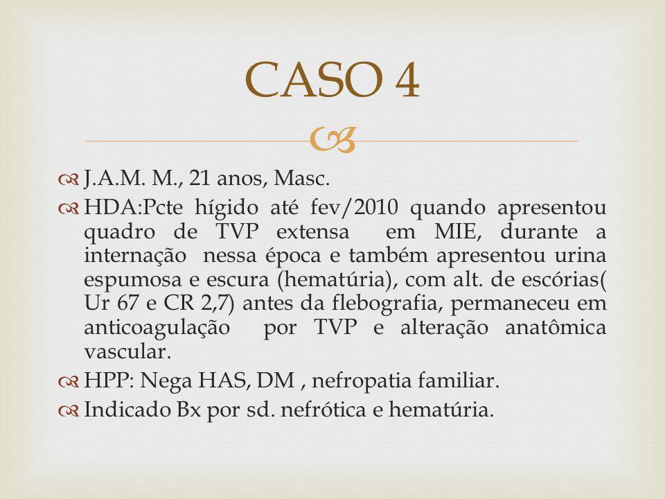 J.A.M. M., 21 anos, Masc. HDA:Pcte hígido até fev/2010 quando apresentou quadro de TVP extensa em MIE, durante a internação nessa época e também apres