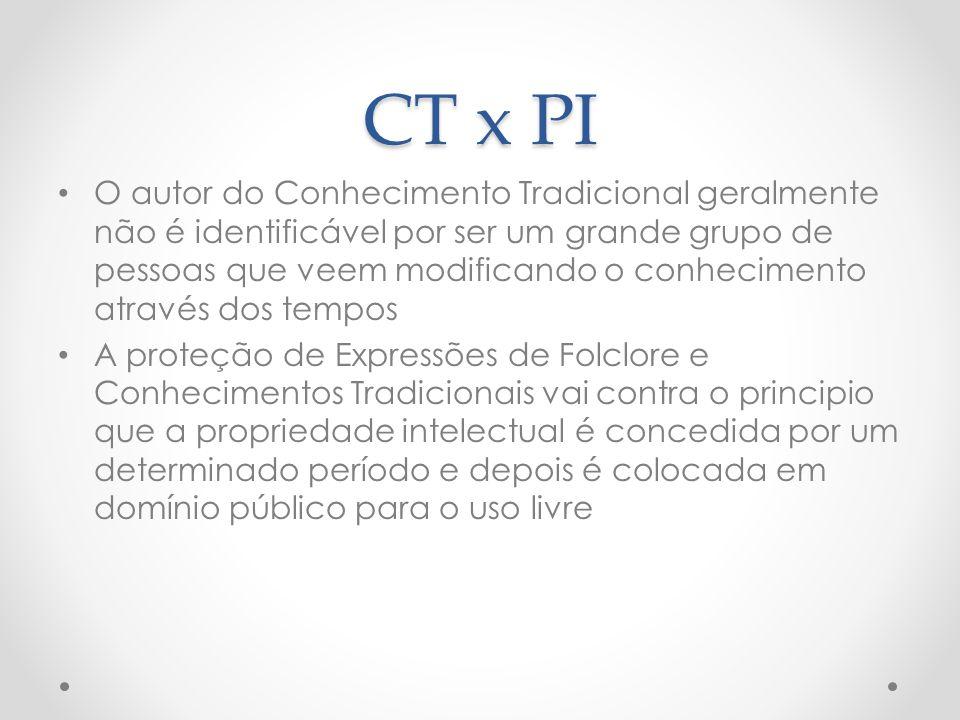 CT x PI O autor do Conhecimento Tradicional geralmente não é identificável por ser um grande grupo de pessoas que veem modificando o conhecimento atra