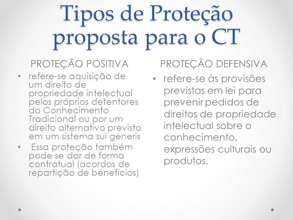 Tipos de Proteção proposta para o CT PROTEÇÃO POSITIVAPROTEÇÃO DEFENSIVA refere-se aquisição de um direito de propriedade intelectual pelos próprios d