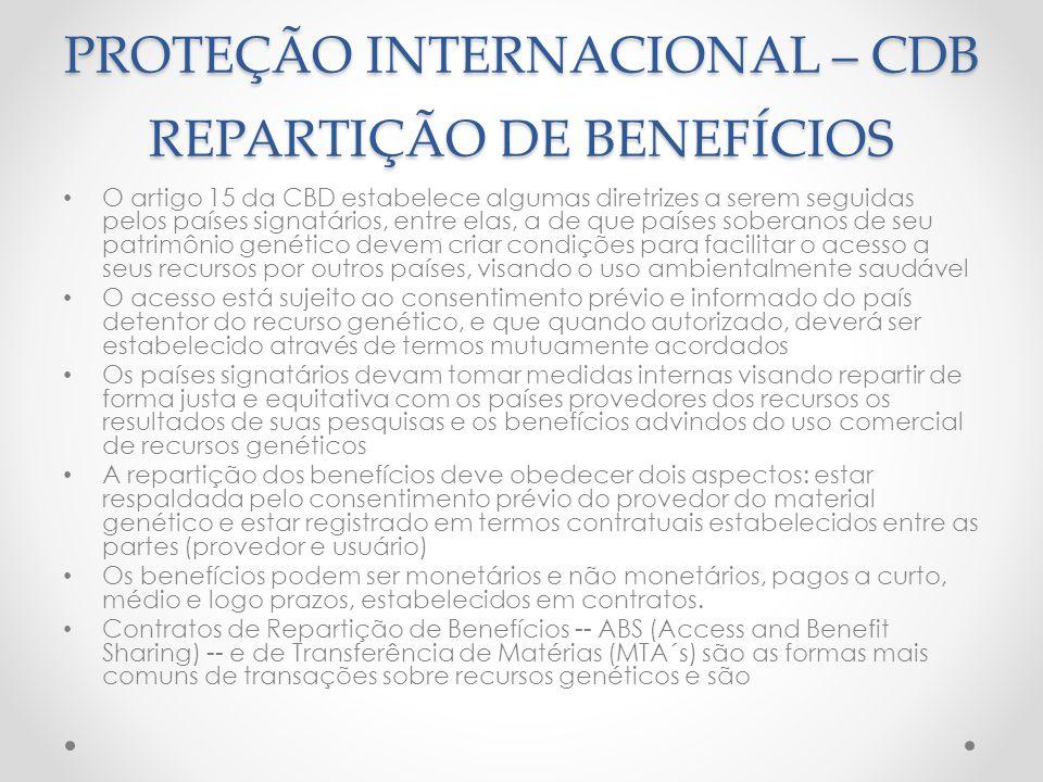 PROTEÇÃO INTERNACIONAL – CDB REPARTIÇÃO DE BENEFÍCIOS O artigo 15 da CBD estabelece algumas diretrizes a serem seguidas pelos países signatários, entr