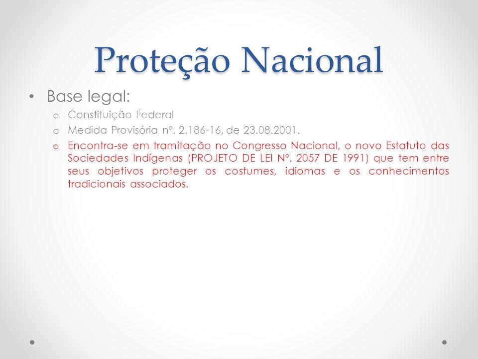Proteção Nacional Base legal: o Constituição Federal o Medida Provisória nº. 2.186-16, de 23.08.2001. o Encontra-se em tramitação no Congresso Naciona