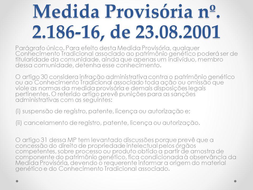 Medida Provisória nº. 2.186-16, de 23.08.2001 Parágrafo único. Para efeito desta Medida Provisória, qualquer Conhecimento Tradicional associado ao pat