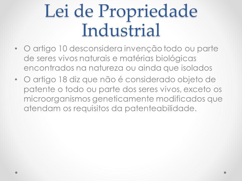 Lei de Propriedade Industrial O artigo 10 desconsidera invenção todo ou parte de seres vivos naturais e matérias biológicas encontrados na natureza ou