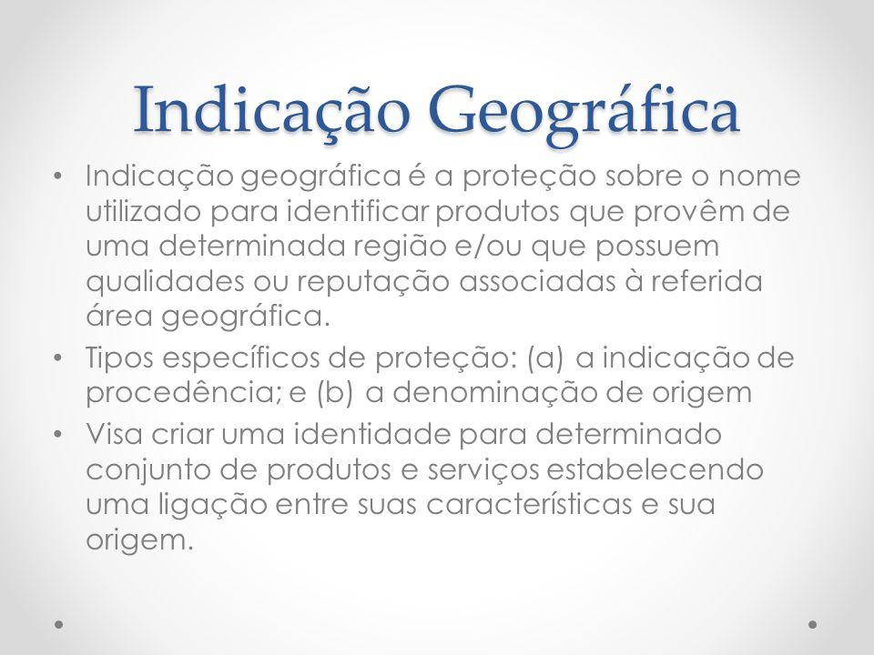 Indicação Geográfica Indicação geográfica é a proteção sobre o nome utilizado para identificar produtos que provêm de uma determinada região e/ou que possuem qualidades ou reputação associadas à referida área geográfica.