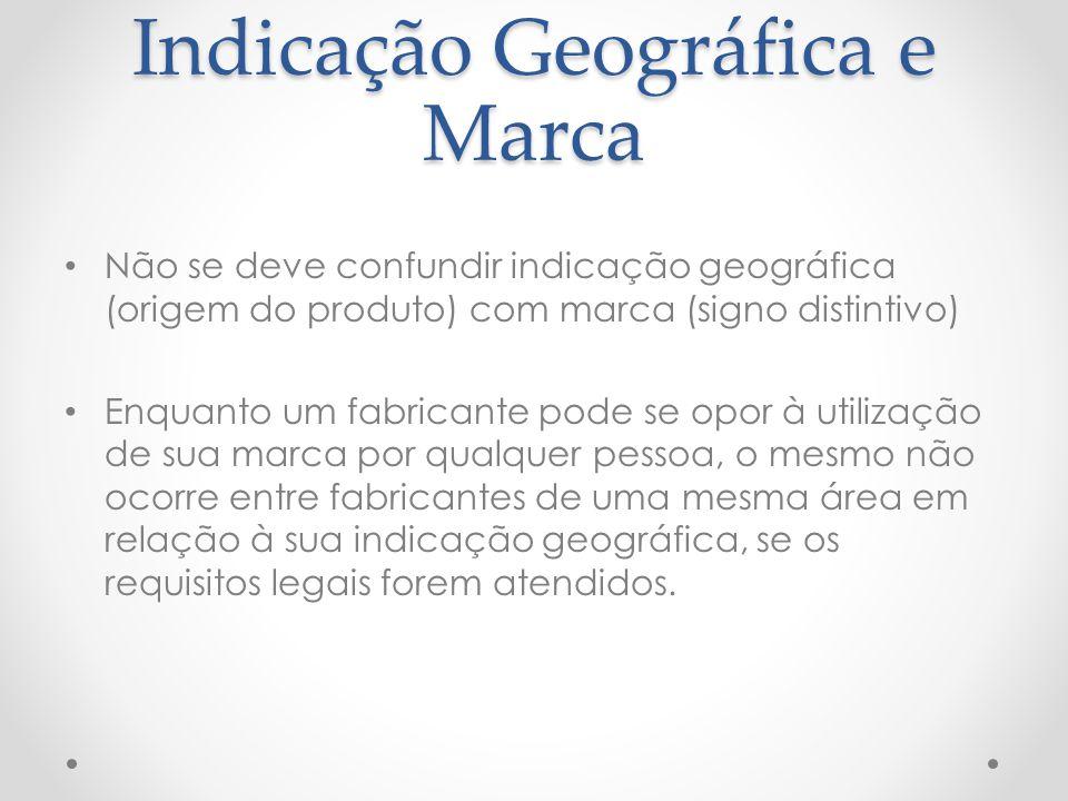 Indicação Geográfica e Marca Não se deve confundir indicação geográfica (origem do produto) com marca (signo distintivo) Enquanto um fabricante pode s