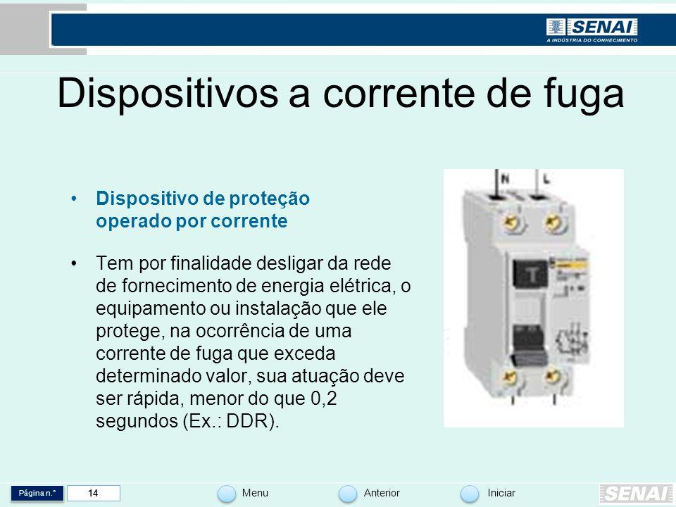 Página n.° MenuAnteriorIniciar 14 Dispositivos a corrente de fuga Dispositivo de proteção operado por corrente Tem por finalidade desligar da rede de