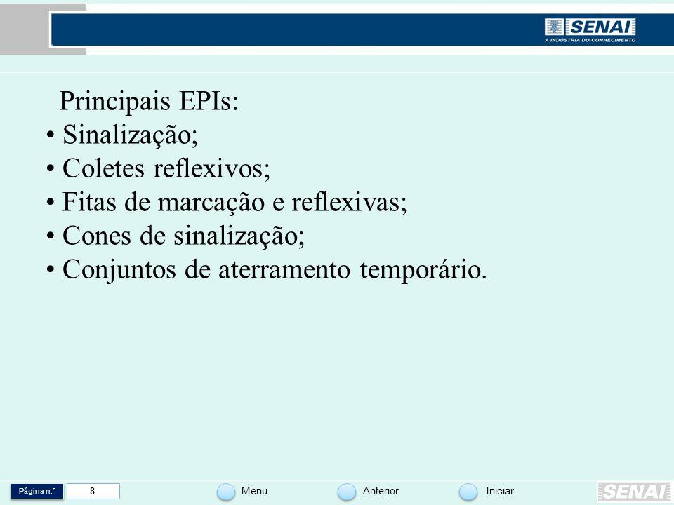 Página n.° MenuAnteriorIniciar 8 Principais EPIs: Sinalização; Coletes reflexivos; Fitas de marcação e reflexivas; Cones de sinalização; Conjuntos de