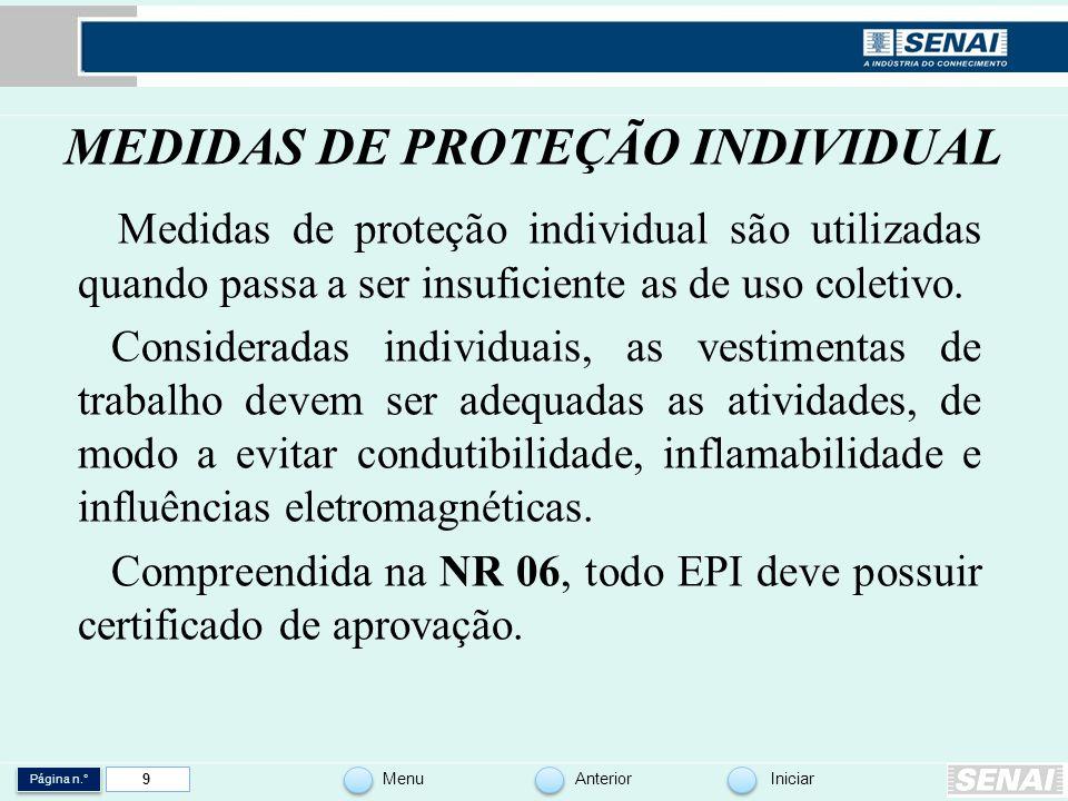 Página n.° MenuAnteriorIniciar 9 MEDIDAS DE PROTEÇÃO INDIVIDUAL Medidas de proteção individual são utilizadas quando passa a ser insuficiente as de us