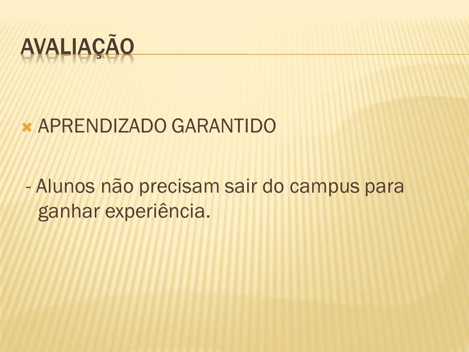 APRENDIZADO GARANTIDO - Alunos não precisam sair do campus para ganhar experiência.