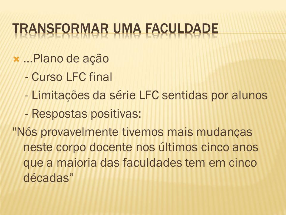 ...Plano de ação - Curso LFC final - Limitações da série LFC sentidas por alunos - Respostas positivas: