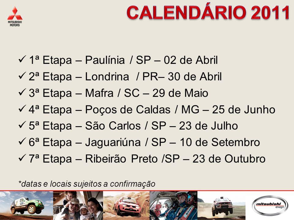 1ª Etapa – Paulínia / SP – 02 de Abril 2ª Etapa – Londrina / PR– 30 de Abril 3ª Etapa – Mafra / SC – 29 de Maio 4ª Etapa – Poços de Caldas / MG – 25 de Junho 5ª Etapa – São Carlos / SP – 23 de Julho 6ª Etapa – Jaguariúna / SP – 10 de Setembro 7ª Etapa – Ribeirão Preto /SP – 23 de Outubro *datas e locais sujeitos a confirmação