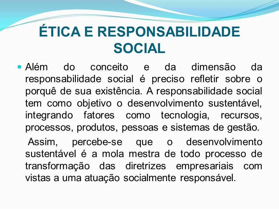 ÉTICA E RESPONSABILIDADE SOCIAL Além do conceito e da dimensão da responsabilidade social é preciso refletir sobre o porquê de sua existência. A respo
