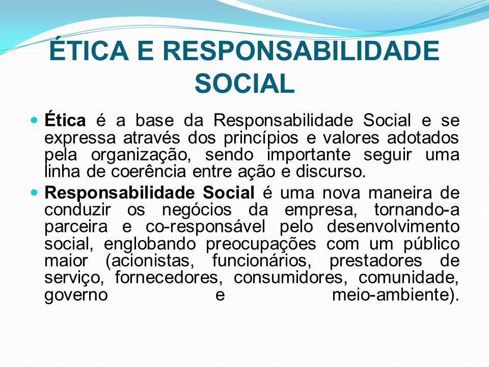 ÉTICA E RESPONSABILIDADE SOCIAL Ética é a base da Responsabilidade Social e se expressa através dos princípios e valores adotados pela organização, sendo importante seguir uma linha de coerência entre ação e discurso.