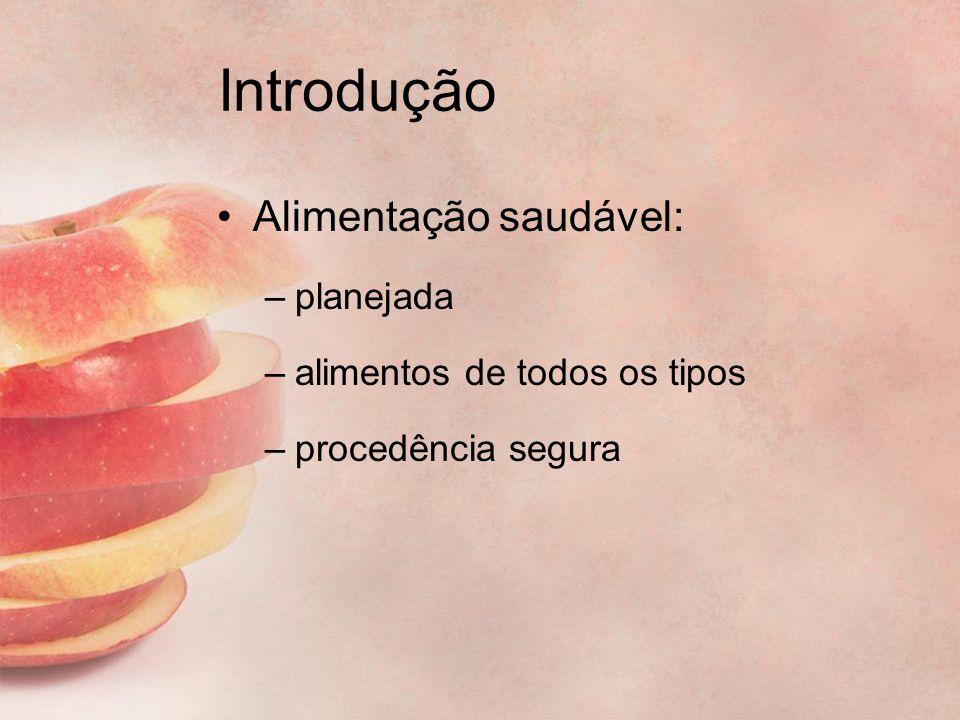 Introdução Alimentação saudável: –planejada –alimentos de todos os tipos –procedência segura
