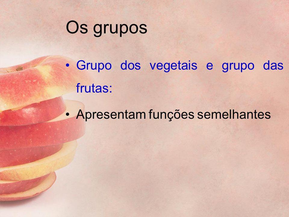 Os grupos Grupo dos vegetais e grupo das frutas: Apresentam funções semelhantes