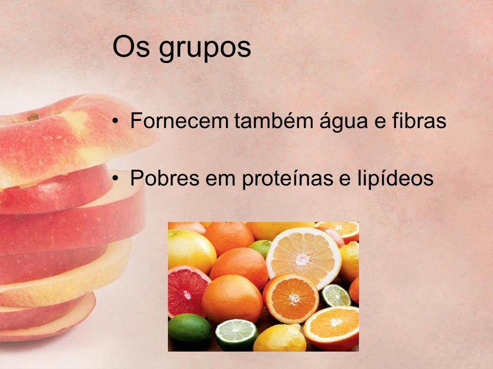 Os grupos Fornecem também água e fibras Pobres em proteínas e lipídeos