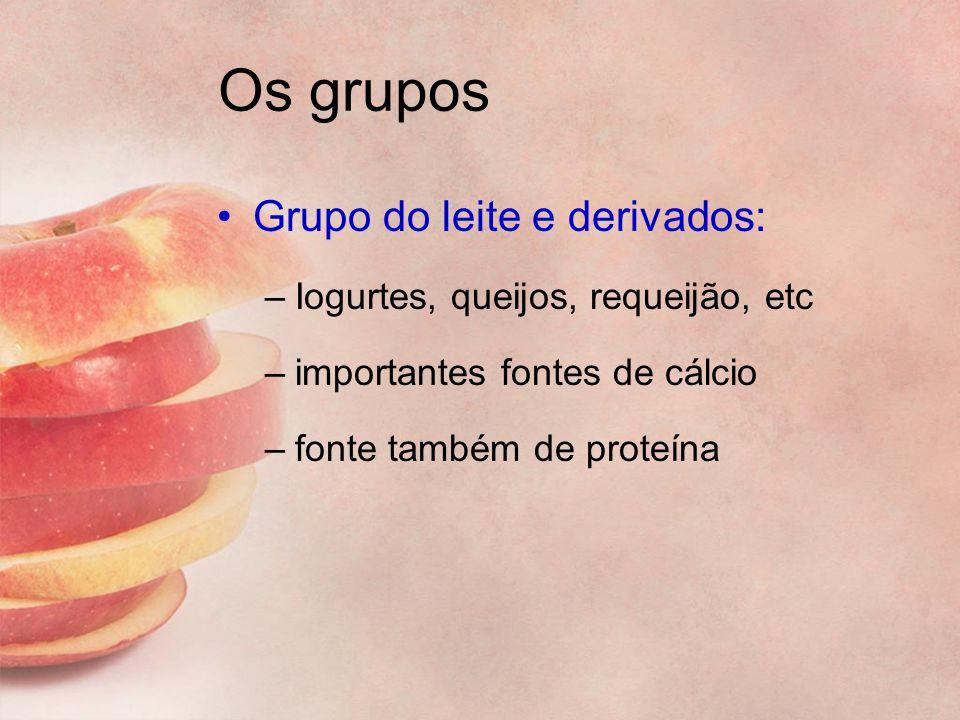 Os grupos Grupo do leite e derivados: –Iogurtes, queijos, requeijão, etc –importantes fontes de cálcio –fonte também de proteína