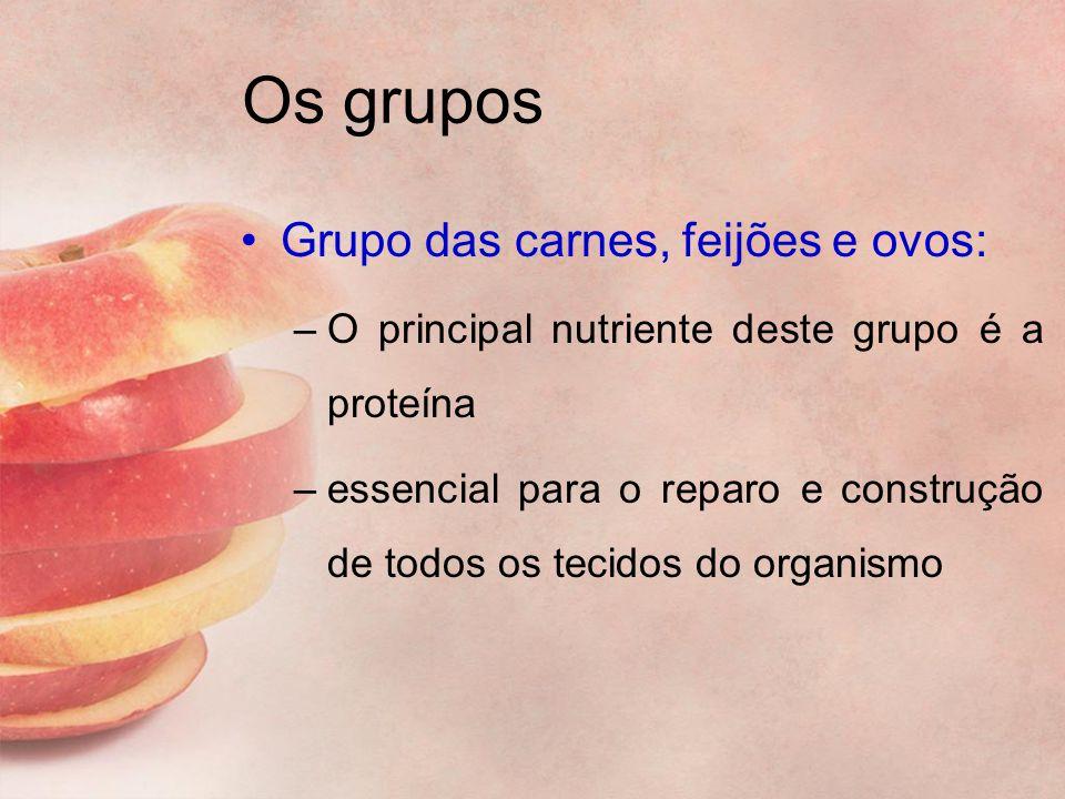 Os grupos Grupo das carnes, feijões e ovos: –O principal nutriente deste grupo é a proteína –essencial para o reparo e construção de todos os tecidos