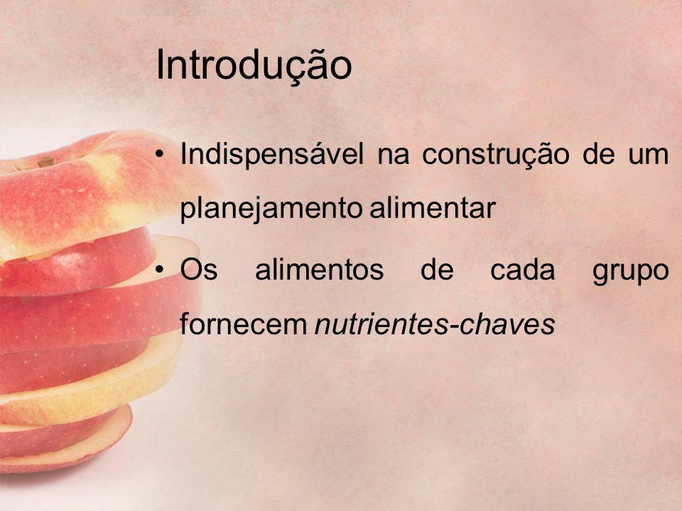 Introdução Indispensável na construção de um planejamento alimentar Os alimentos de cada grupo fornecem nutrientes-chaves